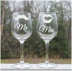 Etched Wine Glass, mustache, lips, Mr. and Mrs. Set of 2 - 12oz, Wine Glasses, etched wine glass mustache lips,  Custom wine glass, wedding