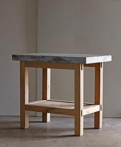 Lostine vintage marble and white oak kitchen prep table
