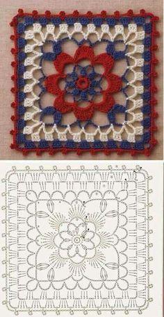 Point crochet motif carré avec diagramme