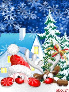 Санта и олень - анимация на телефон №1293776