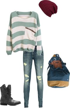 """School Outfit for Autumn/Winter"" by tedelof on Polyvore. except i really dont like those shoes would look better with toms or moccasins"