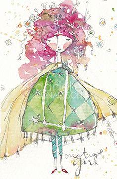 Pretty artistic style—Artistic Girl no. 2—watercolor❣ danielle donaldson