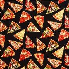black pizza slices fabric by Timeless Treasures from the USA 2
