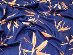 Large Leaf Print Scuba Stretch Jersey Dress Fabric Navy Blue & Orange | Fabric | Dress Fabrics | Minerva Crafts