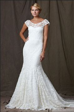 Floral lace overlay wedding gown, this is gorgeous <3