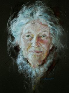 Margaret Ferguson's 'Gaze' in pastel explores the crafting of blending tones to create the shape and expression of a portrait which radiates warmth and stimulates the eye.