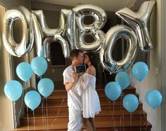 """Giant OH BOY Balloons - 40"""" Inch Mylar Balloons in Letters O-H-B-O-Y - Metallic Silver - Baby Shower Balloons, Baby Shower Decorations"""