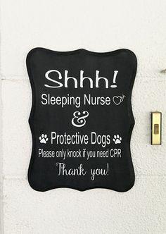 Handmade Sleeping Nurse Front Door Sign Do Not by WoodWorxDesigns