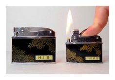 1950s His & Hers Pocket Lighters Working Pair by VintageTobacciana