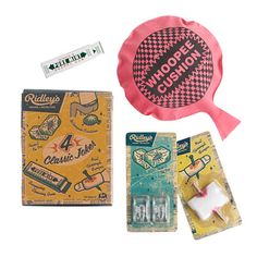 "Game for some good old-fashioned fun? Ridley's creates cool toys in retro-style packaging for hours of fun without the electronics. This kit comes with four classic practical jokes that will keep them giggling. <ul><li>Includes ice with insect (plastic), snappy chewing gum (card, metal), 6"" whoopee cushion (rubber), nail through finger (cotton, plastic).</li><li>Import.</li><li>This item is not intended for use by children under three years of age.</li></ul>"
