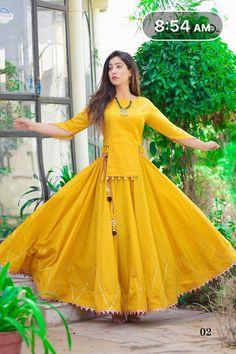 Yellow cotton dress skirt blouse galti mehendi wear indian outfit lehenga choli wedding dress - - Readymade dress Fabric cotton Suitable for indian occasions. Lehenga Choli Designs, Kurta Designs, Fancy Blouse Designs, Stylish Dress Designs, Kurti Designs Party Wear, Stylish Dresses, Crop Top Designs, Indian Gowns Dresses, Indian Fashion Dresses