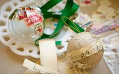 Outstanding Original Ornaments - For a fun, vintage look mix water and glue to plaster ornaments with bits of newspapers, old stamps, sheet music, or old holiday cards.