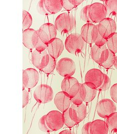 beautiful red balloons (textile design) by Leah Bartholomew & Beth Orpin via the design files - Love this! I'd frame a square of it for my gallery wall. Pink Balloons, Red Balloon, Printed Balloons, Birthday Balloons, Floating Balloons, Transparent Balloons, Helium Balloons, Whatsapp Pink, The Design Files