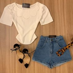 Short Outfits, Casual Outfits, Tumblr Outfits, I Love Fashion, Casual Looks, How To Make, How To Wear, Ruffle Blouse, My Style