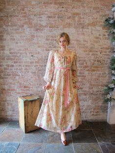 Vintage 1960s Pink Roses Floor Length Dress. via Etsy.
