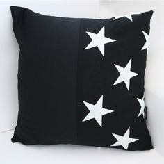 Star Cushion Covers - Pam Glew shop  Made from dyed star sections of a cotton vintage American flag, the stars are embroidered.  Soft black cotton drill on reverse of all cushions. Black zip closure. With embroidered PAM GLEW signature tag.  Standard 43 cm cushion, the cushion pads are included.  Hand Wash Only Cool Iron on reverse