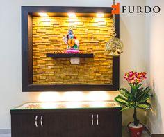 Stone cladded Foyer with Hindu Idol by Furdo