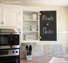 Pint the insides of cabinet doors with chalkboard...cute ideas for lists, organizing...etc!!  : Kitchen Cabinet Chalk Paint Makeover