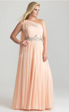 A-line Pearl Pink Chiffon One Shoulder Floor-length Plus Size Bridesmaid Dresses(PSD020), nice choice for my girls.....