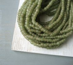 Small glass beads  rustic olive green Glass beads by yukidesigns, $5.25