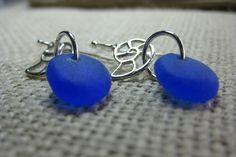 blue sea glass sterling nautilus charm wire hook earrings, blue beach glass dangle pierced earrings, SeaglassWithATwist by SeaglassWithATwist on Etsy