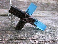 Cross Necklace Wenge Resin Cross by NikibarsNatureArt on Etsy