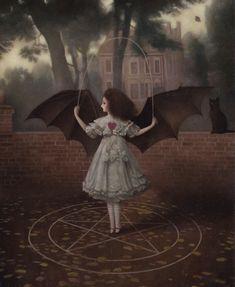 'Too Magick for School' by Stephen Mackey ( Creepy Art, Weird Art, Arte Grunge, Arte Peculiar, Arte Obscura, Occult Art, Lowbrow Art, Wow Art, Pop Surrealism