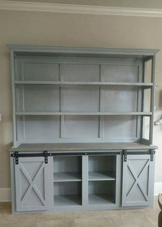 """Have you thought about adding a hutch to the Grandy Sliding Console? The Rustic Shack has some seriously sweet projects, be sure to """"like"""" their page! http://www.ana-white.com/2015/08/free_plans/grandy-sliding-door-console"""