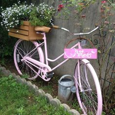 Bike rescued from the trash, painted pink, zip tied a crate to the back makes a beautiful garden bike