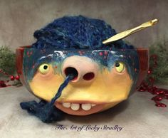 Lucky Stradley, Yarn Face Bowl, 21st century, ceramics, dimensions unknown. Lives and works in Hubbell Nebraska. She has been making faces on functional pottery since May of 2009. Lucky refers to her creations as cute little ugly faces. This vessel has a silly feel and the purpose of this face bowl adds more humor to it's over all emotional. Would you consider this a face vessel? Why/why not? Possibly a different variation for your project? Is usability an important factor in designing…