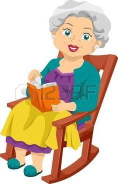 Ilustraci�n que ofrece una anciana sentada en una silla oscilante