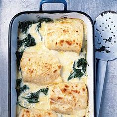 Haddock, spinach and Gruyère gratin recipe. A creamy, heartening fish dish that's quick to make – an ideal supper for cold winter evenings.