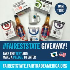 Calling all coffee lovers! Enter to win this eco-friendly prize package by taking the Fairness Test today! Fair Trade, Pure Products, Coffee Lovers, Bananas, Bottle, Eco Friendly, How To Make, Gifts, Presents