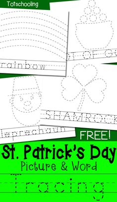 FREE St Patrick's Day handwriting and tracing worksheets including pictures and words for children to trace. Featuring shamrock, leprechaun, rainbow and pot of gold!