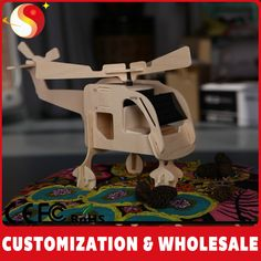 Solar toy: wood helicopter
