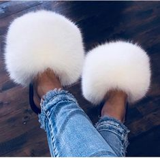 "Shop the ""ice white"" fur slayslides💕 Fluffy Sandals, Fluffy Shoes, Sneakers Fashion, Fashion Shoes, Cute Slides, Faux Fur Slides, Glass Shoes, White Nike Shoes, Swag Outfits"