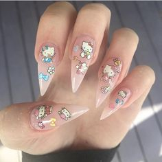 Best Nail Designs for Spring-Summer 2019 Colors, Best Nail Designs for Spring-Summer 2019 Colors - 1 2019 trends are here. When it comes to shapes, the range of spring and summer 2019 nail trends. Aycrlic Nails, Cat Nails, Hair And Nails, Hello Kitty Nails, Hello Kitty Art, Kawaii Nails, Fire Nails, Best Acrylic Nails, Manicure Y Pedicure