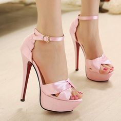 6 Amazing Shoes for Womens   Fashion Super Stiletto High-heeled Peep-toe Strap Platform Sandal