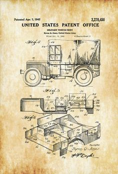 Covered Willys Military Jeep Patent Print Wall Decor