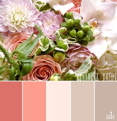 a floral-inspired color palette // #bouquet of roses, dahlias, orchids, and hydrangea // dark coral, coral (pink), blush, warm gray