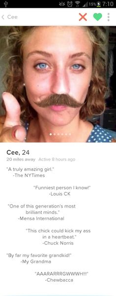 These Tinder bios take the online dating game to a whole new level, and we're here for it. If they don't make you swipe right, they'll at least make you laugh out loud. Funny Tinder Profiles, Tinder Humor, Best Tinder Bios, Funny Dating Quotes, Dating Humor, Tinder Dating, Best Dating Apps, Dating Tips For Women, Apps