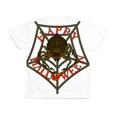 Happy Halloween Spider Kid's All Over Print T-Shir Halloween Spider, Halloween Gifts, Happy Halloween, Candy Bags, Crop Tops, T Shirt, Kids, Women, Fashion