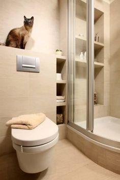 ŁAZIENKA: Funkcjonalny projekt. Półkami z płyt gipsowo-kartonowych wyłożonych ceramicznymi płytkami zabudowano każdy wolny kącik. Znajdują się i w kabinie prysznicowej, i obok niej.