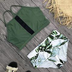 Other details: Spandex Polyester With Pad High Waist Wire-Free Fits true to size Green Bikini, Pink Bikini, Bikini Swimwear, Bikinis, Two Piece Bikini, Two Piece Swimsuits, Women Swimsuits, Cute Bathing Suits, Bikini Fashion