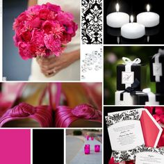 What color pallette goes best with fuschia? :  wedding colors spring wedding B And W
