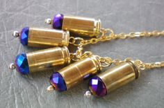 Brass bullet casing & purple crystal necklace,Recycled jewelry,Handmade jewelry,Repurposed jewerly,Upcycled,Free USA shipping,Made in USA/MI