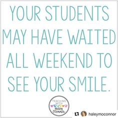 This is so true. Thanks for the reminder, @haleymoconnor #Repost ・・・ No one likes a Monday! But I always tried to remember that some of my students have been waiting for Monday morning since they left school on Friday! How do you make the most of your Mondays with your kiddos?  #Regram via @readlikearockstar