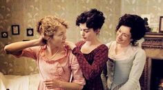 Anna Maxwell Martin (Cassandra Austen); Anne Hathaway (Jane Austen) & Lucy Cohu (Eliza De Feuillide) - Becoming Jane directed by Julian Jarrold (2007) #janeausten
