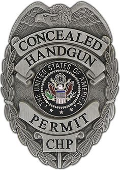 "Concealed Weapon Permit Badge (Gun-Metal) An absolute must for any person that carries a concealed weapon. Measuring 3"" x 2 1/4"", this gun-metal colored, high-luster finish badge is outiftted with a heavy duty clip style attachment."