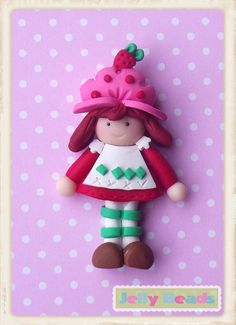 Strawberry Shortcake Polymer Clay Bead by jellybeadsdesigns, $4.50
